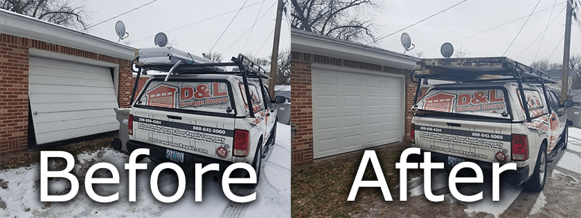 befor and after garage door installation in Boise